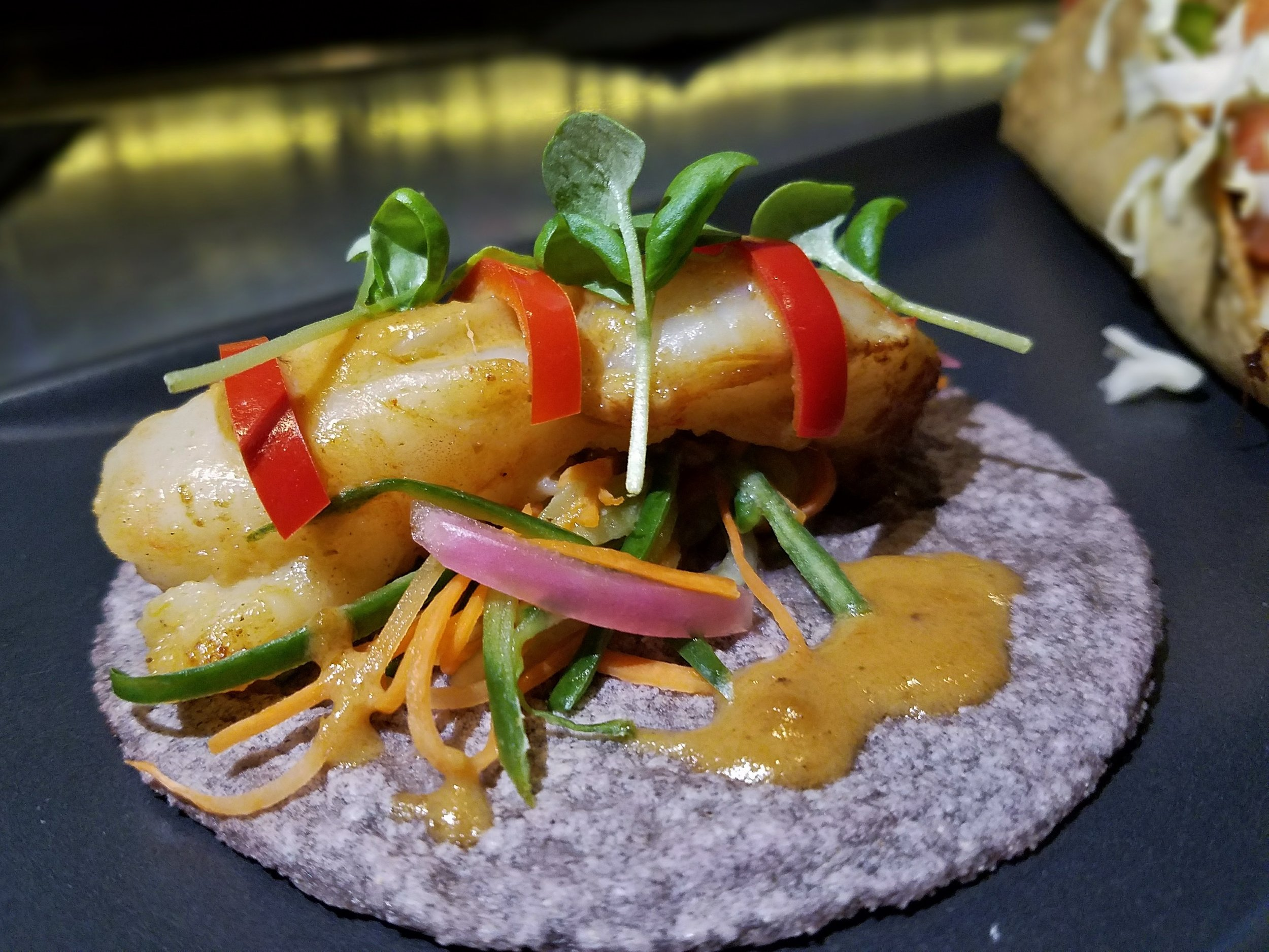 Shrimp taco with green curry