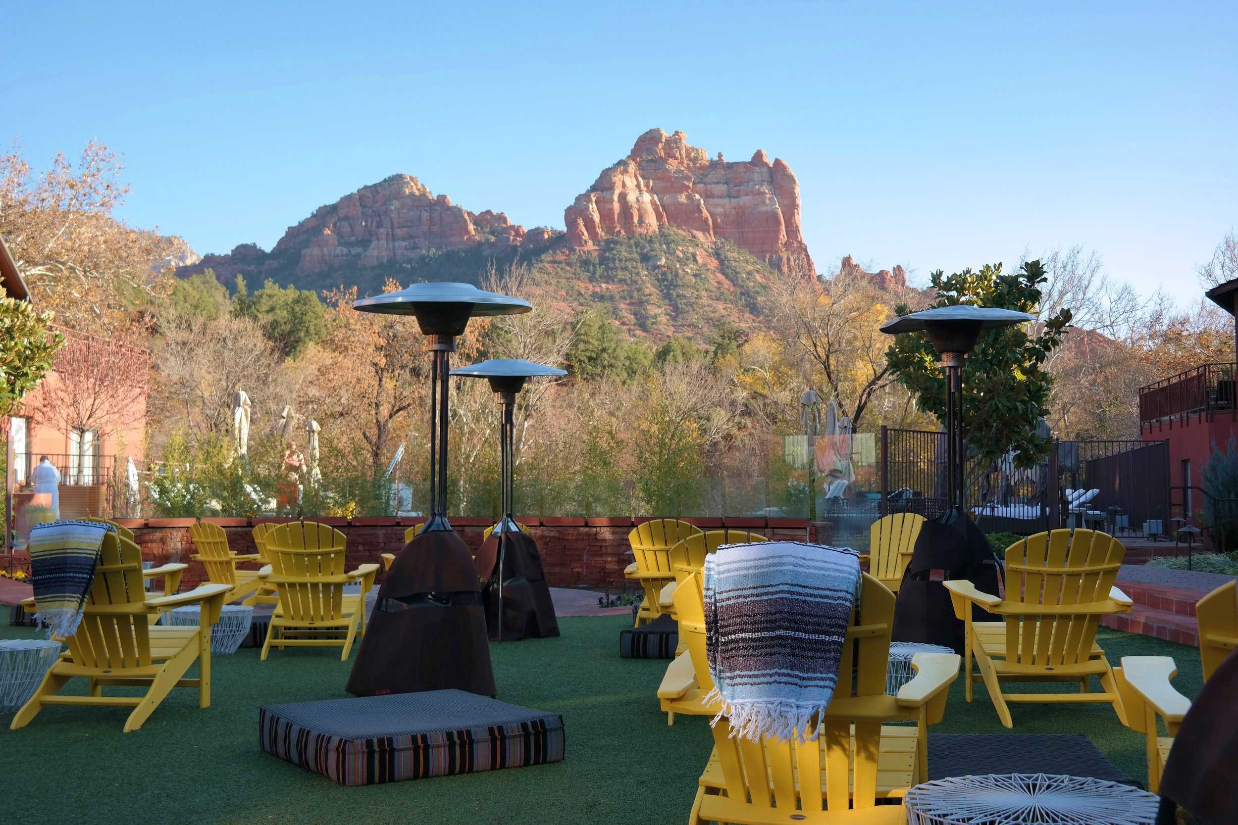 The view of Camelhead Rock from The Courtyard at Amara Resort