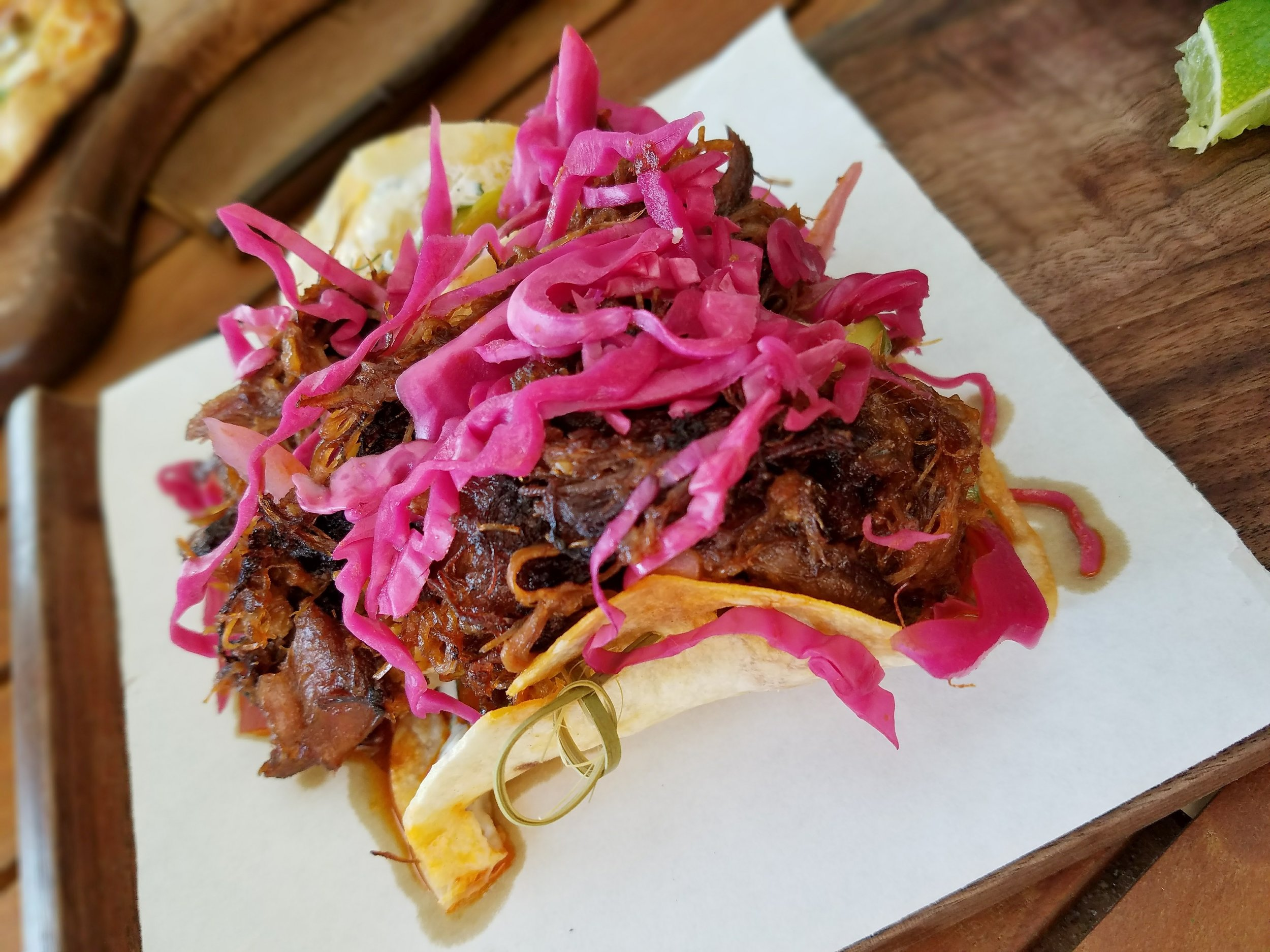 Harissa lamb tacos with quark and pickled cabbage