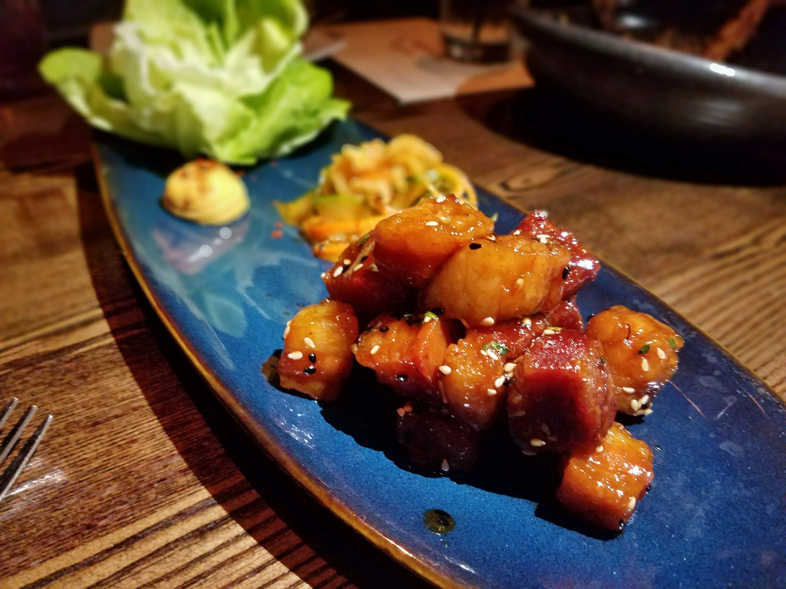 XO-glazed pork belly wraps