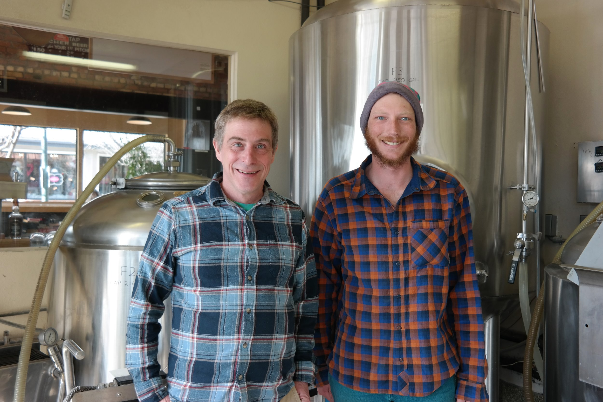 Jeff Thorsett, brewmaster and founder of  Flagstaff Brewing Company , and brewer Stu Howe