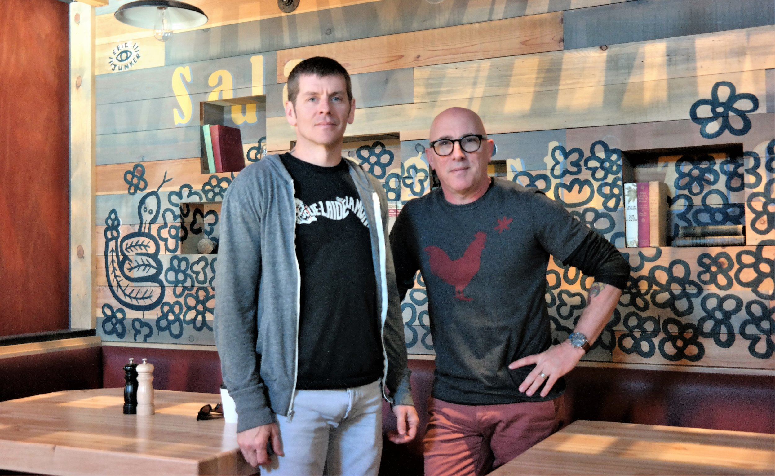 Co-winemaker Tim White and Maynard Keenan at Merkin Osteria in Cottonwood
