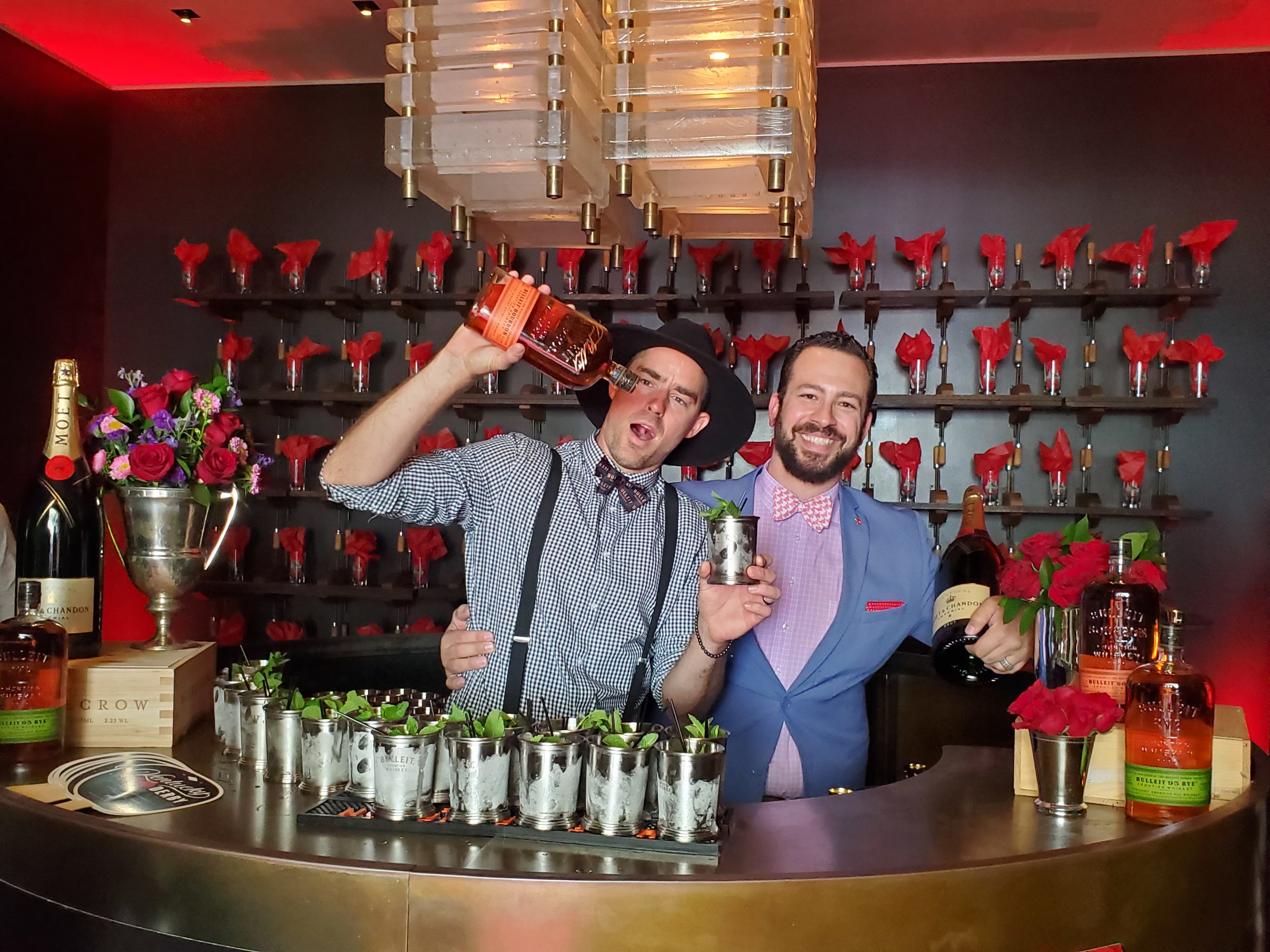 Bartender Kenny Hansen and  sommelier Jason Caballero always greet the guests with mint juleps and Moet-Chandon bubbly