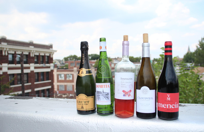 Gruet Blanc de Noirs; Domitia Picpoul de Pinet 2014; Innovacion Malbec-Syrah Rose 2014; Cloudveil Pinot Noir 2013; Vega Montan Mencia