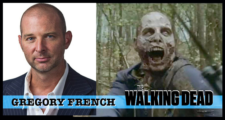 Gregory French -- An actor and stuntman who has played more than 30 walkers since season 3 and will be seen as a Whisperer (Shhhhhh....) in Season 9 of The Walking Dead. Gregory is also one of only two actors to have played the Gas Mask Zombie!
