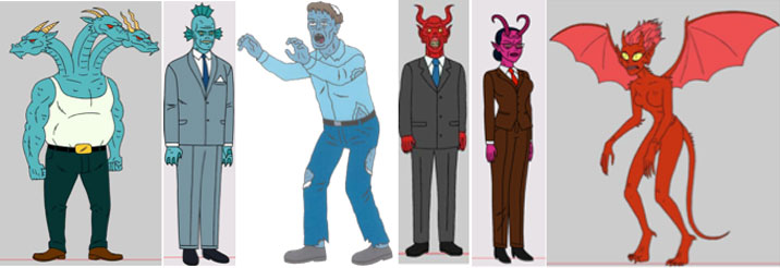 These were all background characters from Ugly Americans which we used as the basis for our prosthesis and makeup. Everyday workaday monsters.