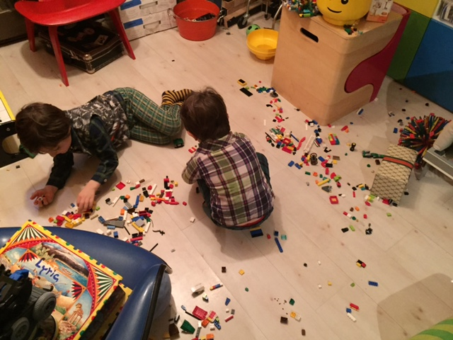 They're counting out 10 Legos each here. That turns out to not be a lot of Legos.