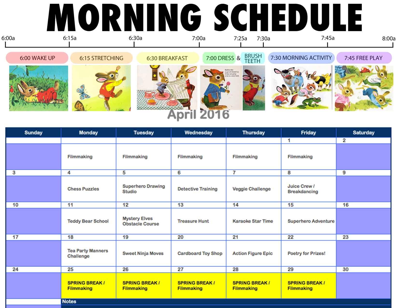 April schedule is ready! Three full weeks and then SPRING BREAK! Whooooooo!