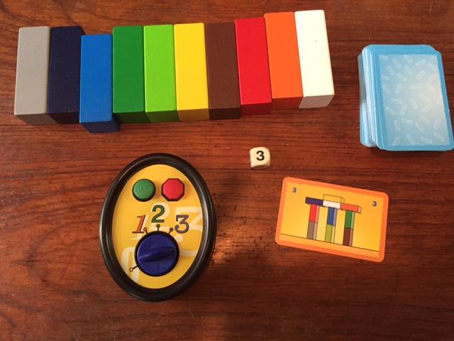 MAKE N' BREAK's blocks, timer, die, and challenge cards