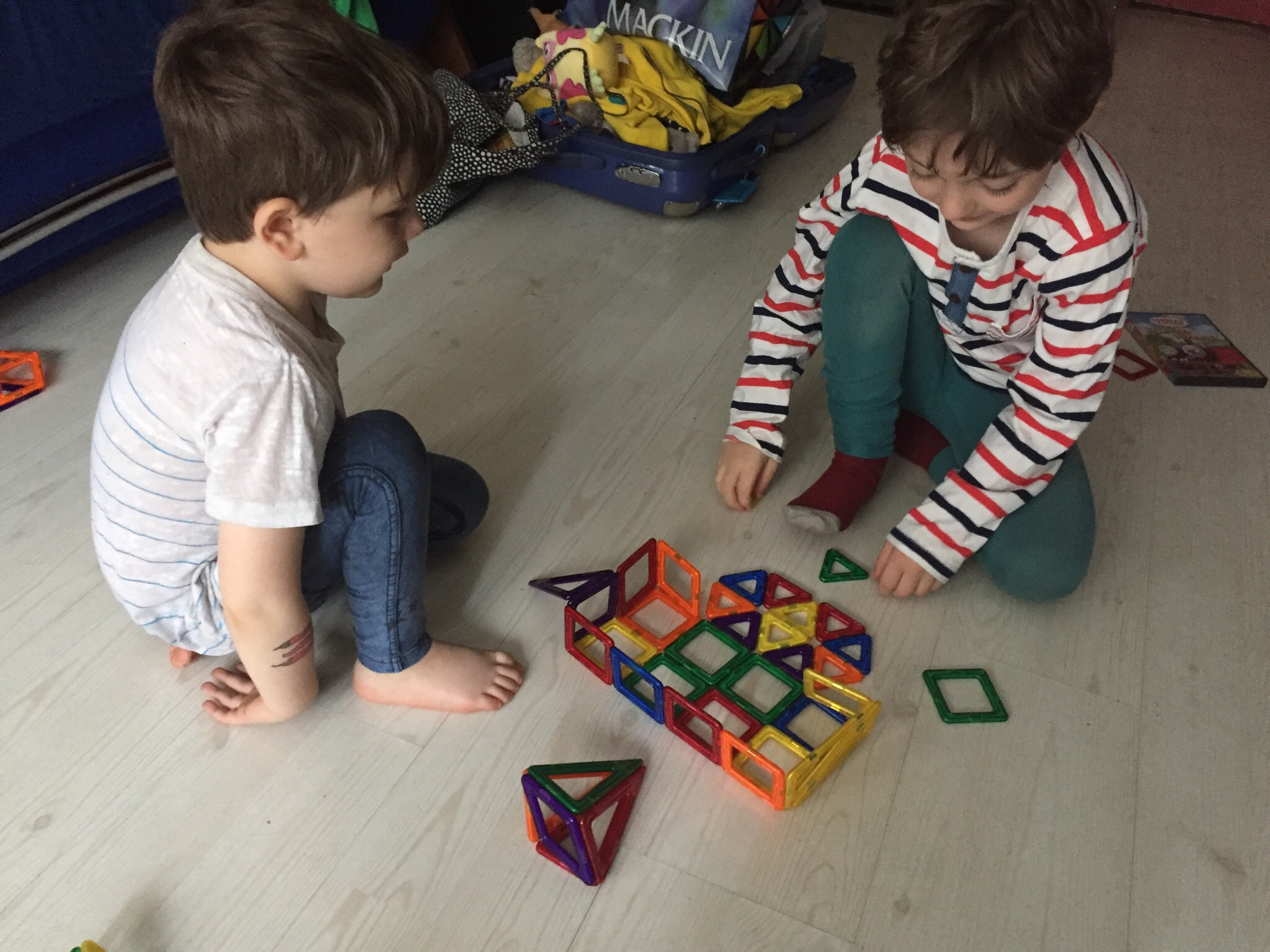 And then they played magnet tiles with each other for the rest of the morning.