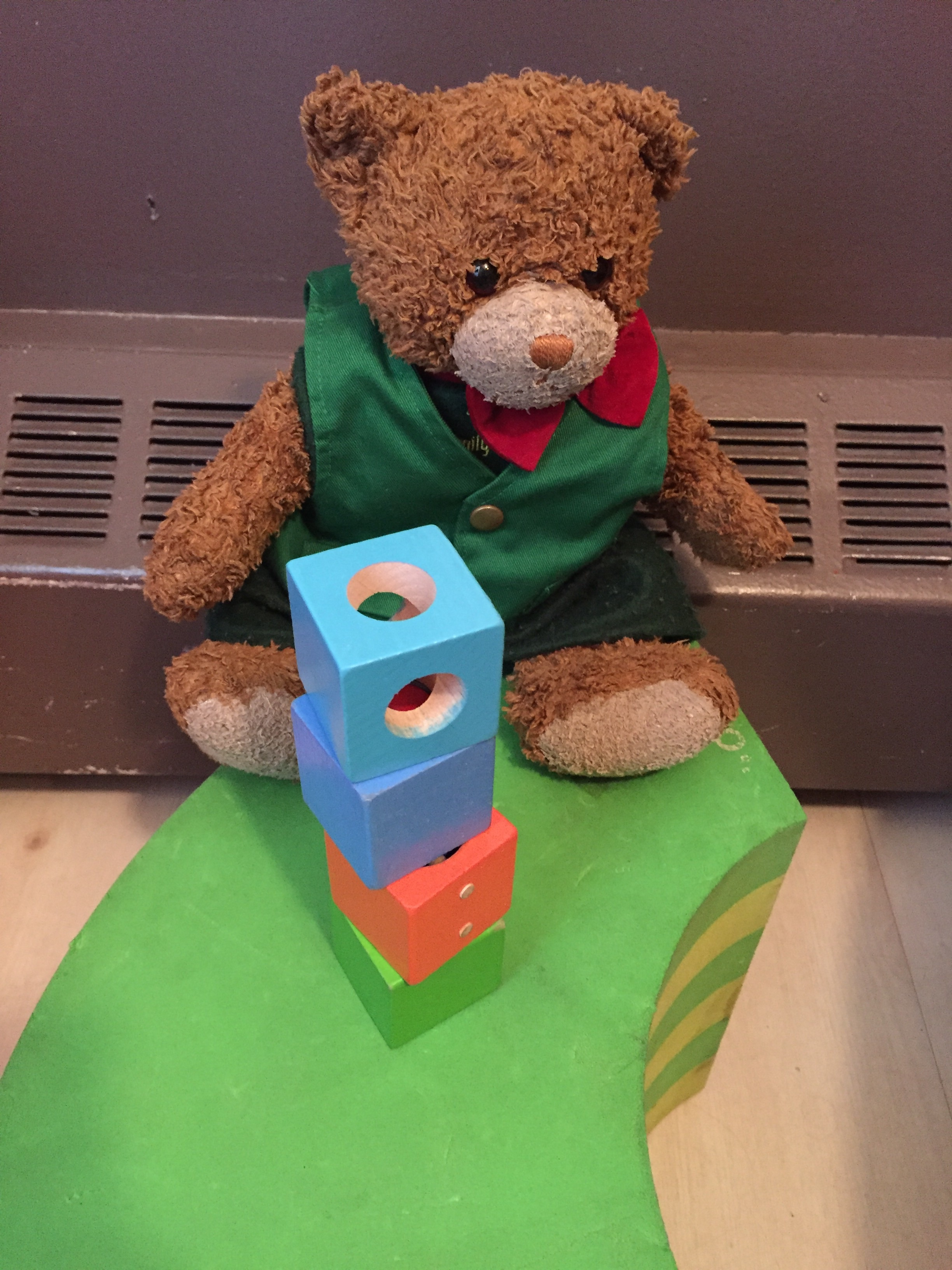 Kuma played with blocks (and was joined by Pikachu eventually)