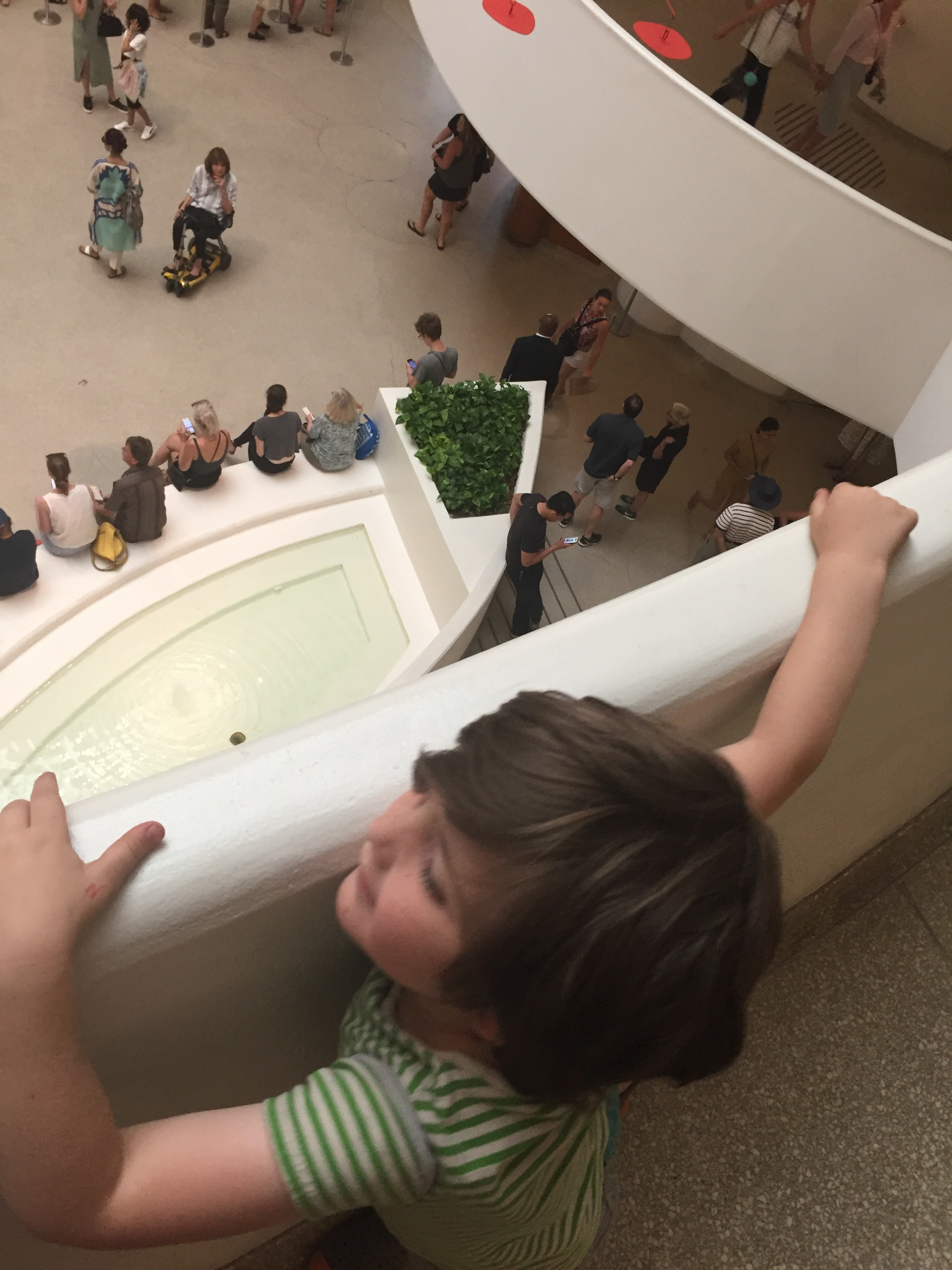 Lyric chose the eye pool at the base of the Guggenheim as what made him feel calm. Not sure if I ever noticed it was an eye before.