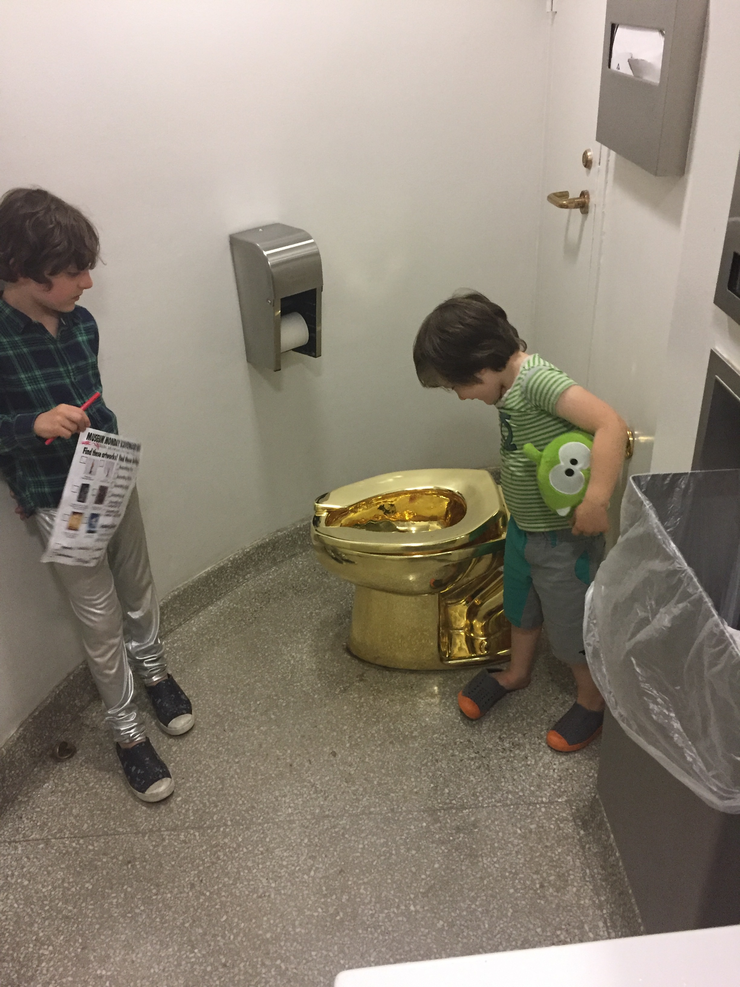 One thing that certainly surprised the kids: Maurizio Cattelan's gold toilet called America.
