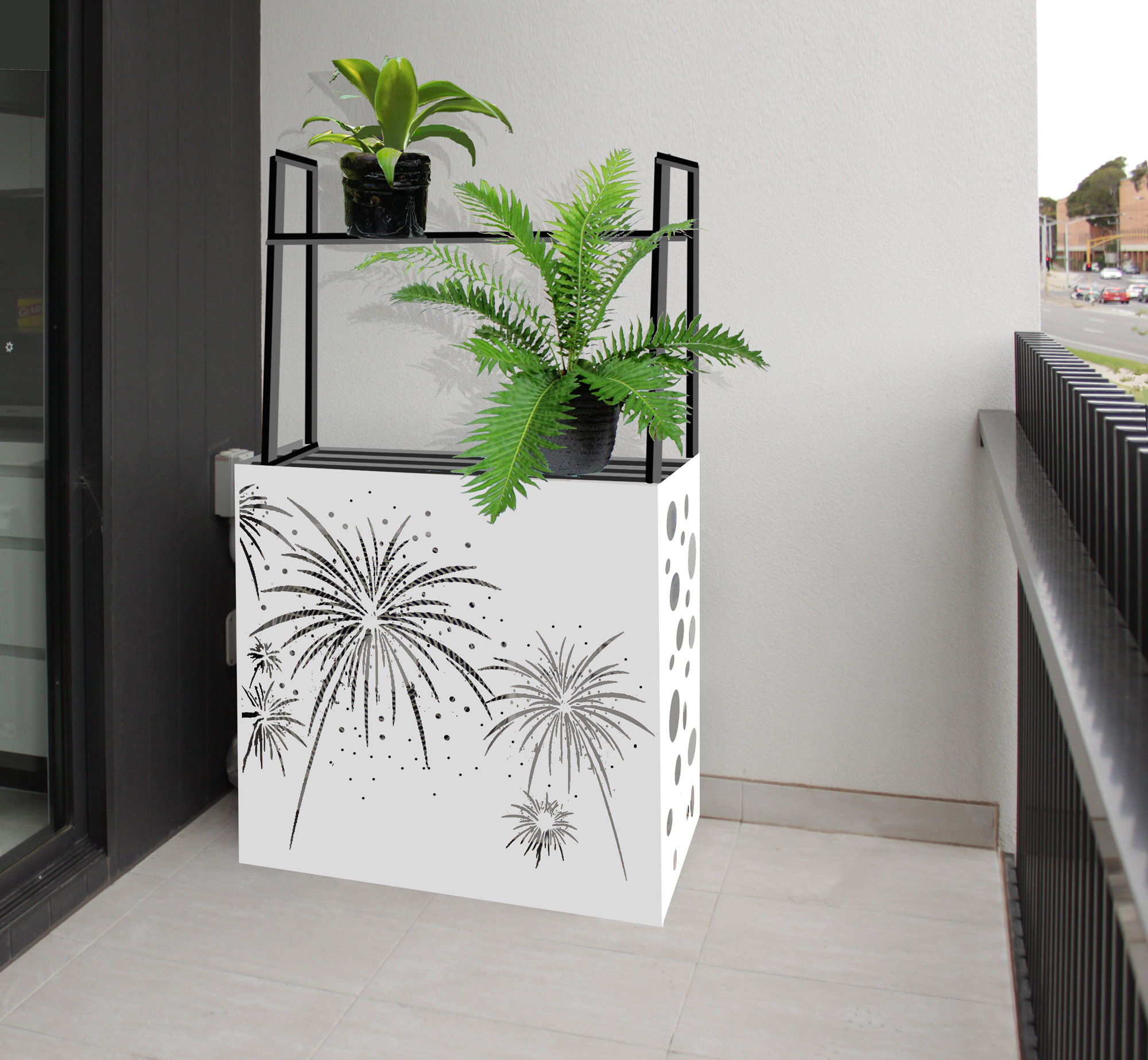 Rendered AC outdoor unit cover with optional top plant rack.