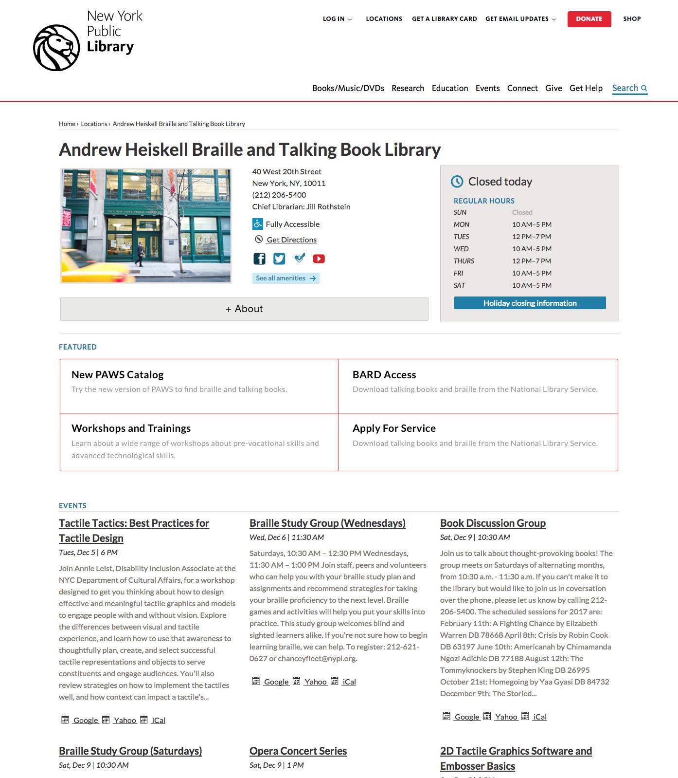 NYPL Andrew Heiskell Website