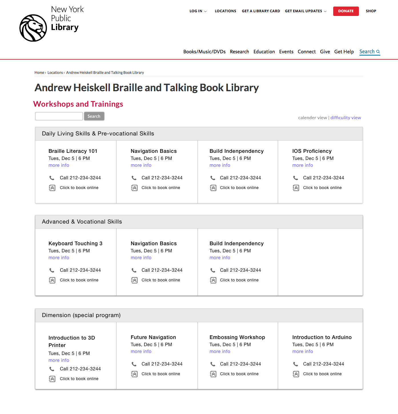 NYPL Andrew Heiskell Website - Workshop and Training