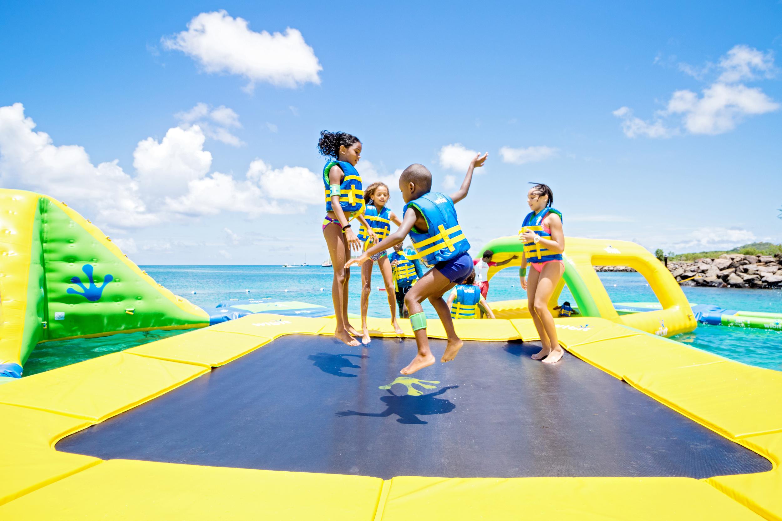 Trampoline at Splash Island Water Park St. Lucia Rodney Bay