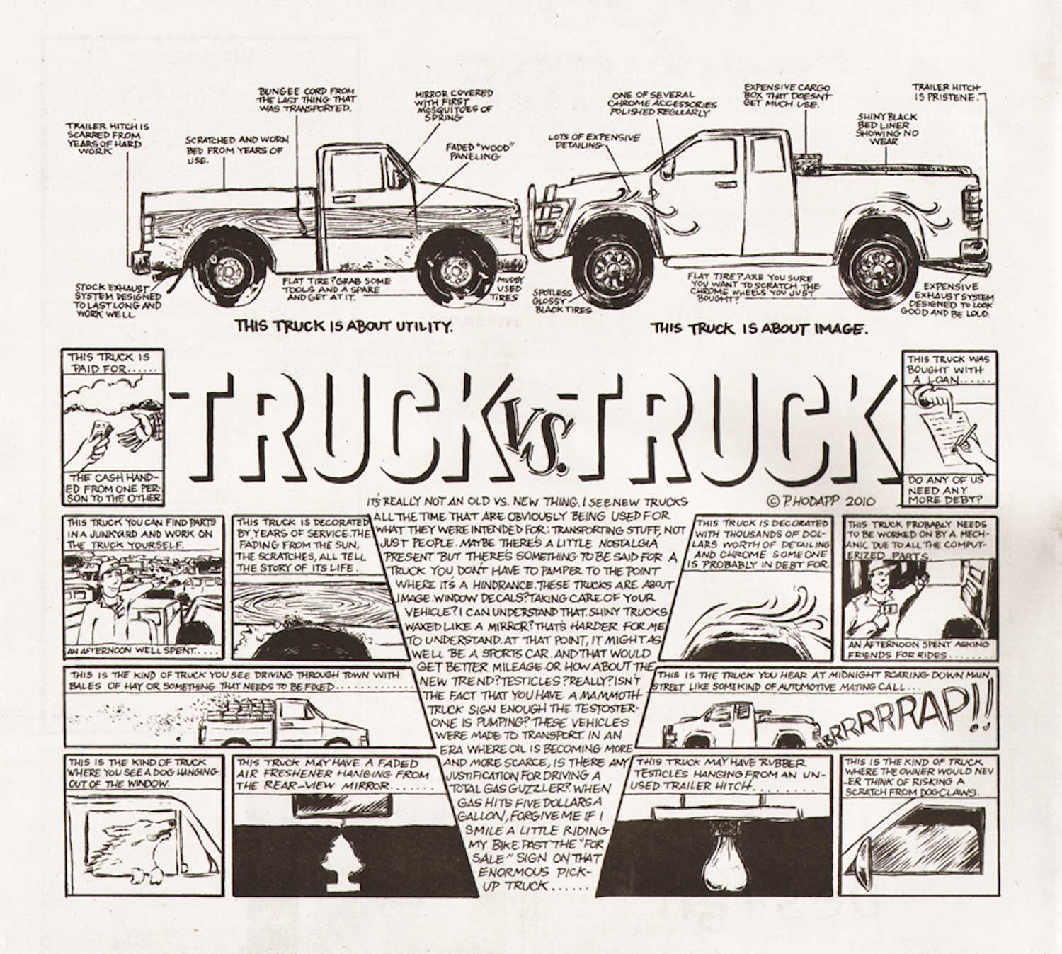 A piece outlining the species of trucks in rural communities.