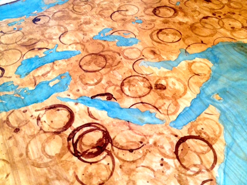 Close up of the cleaned rings and ocean in progress.
