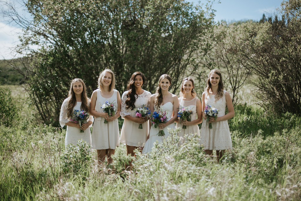 bridal party with bouquet from calgary area wedding