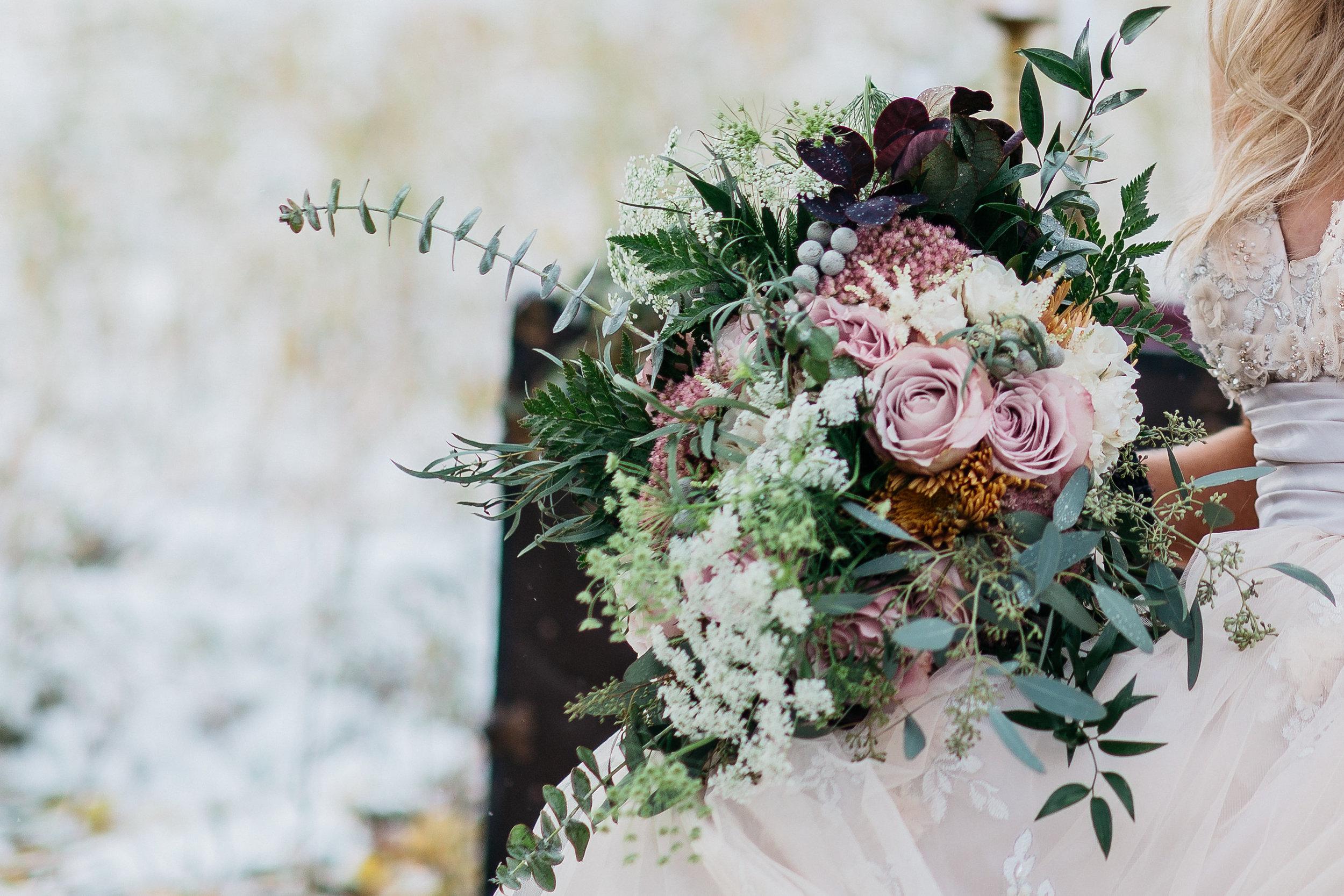 winter theme wedding bouquet close up