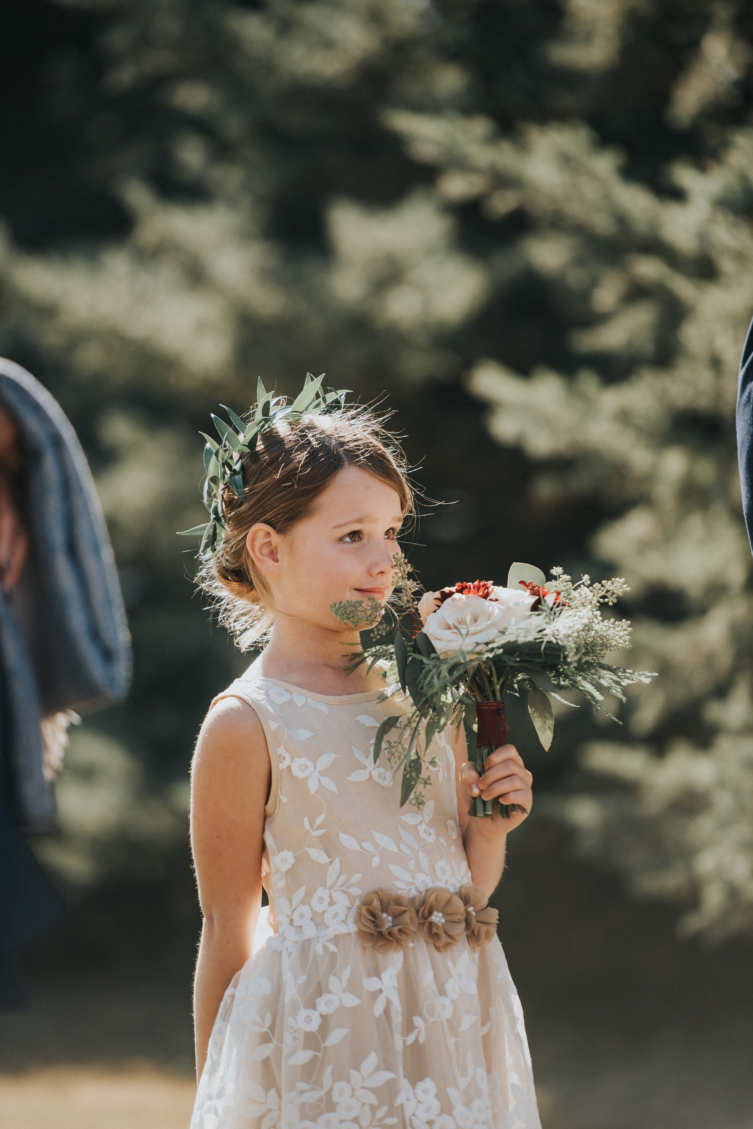 flower girl flowers and wreath for calgary wedding