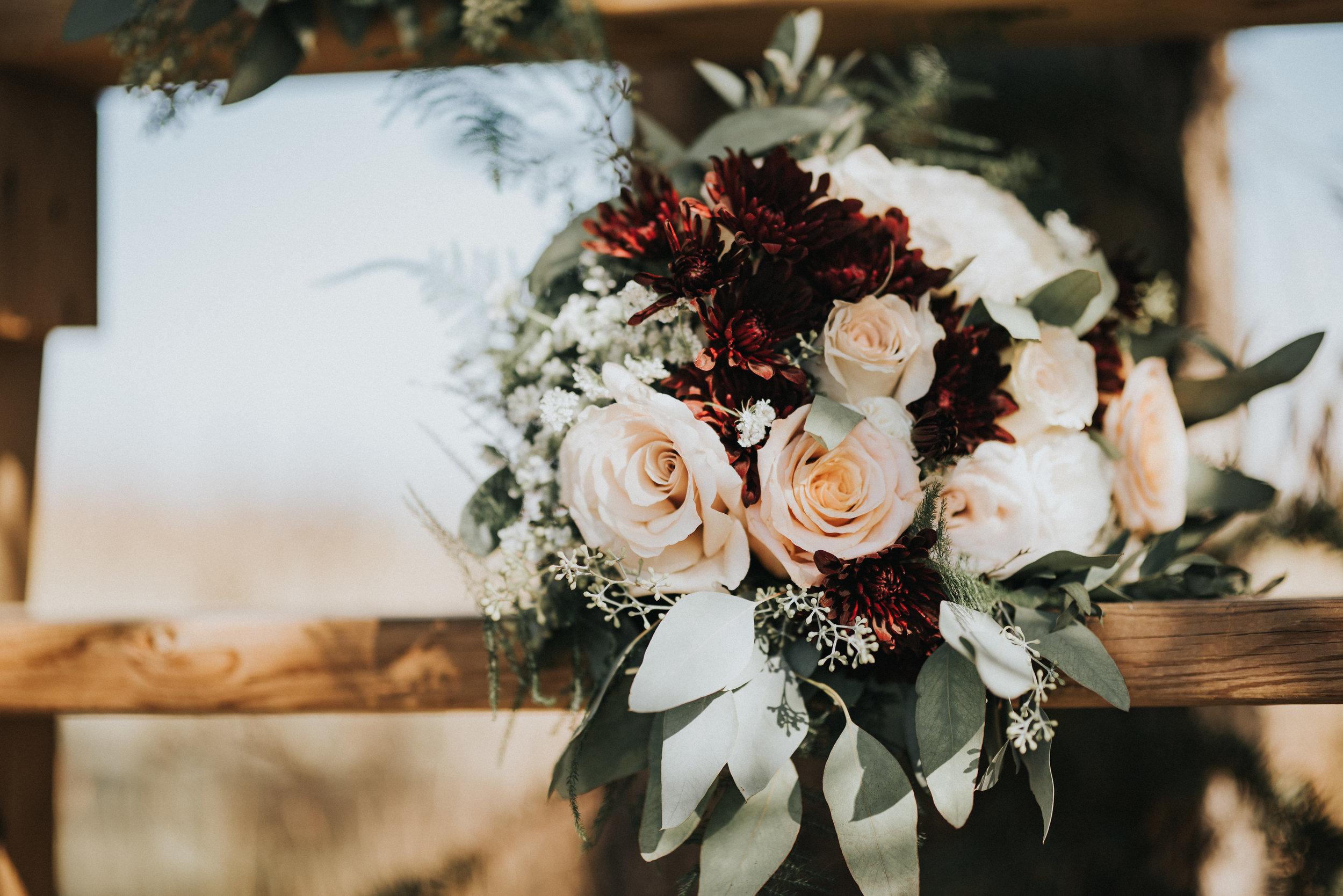 rustic wedding flowers bride bouquet in cochrane