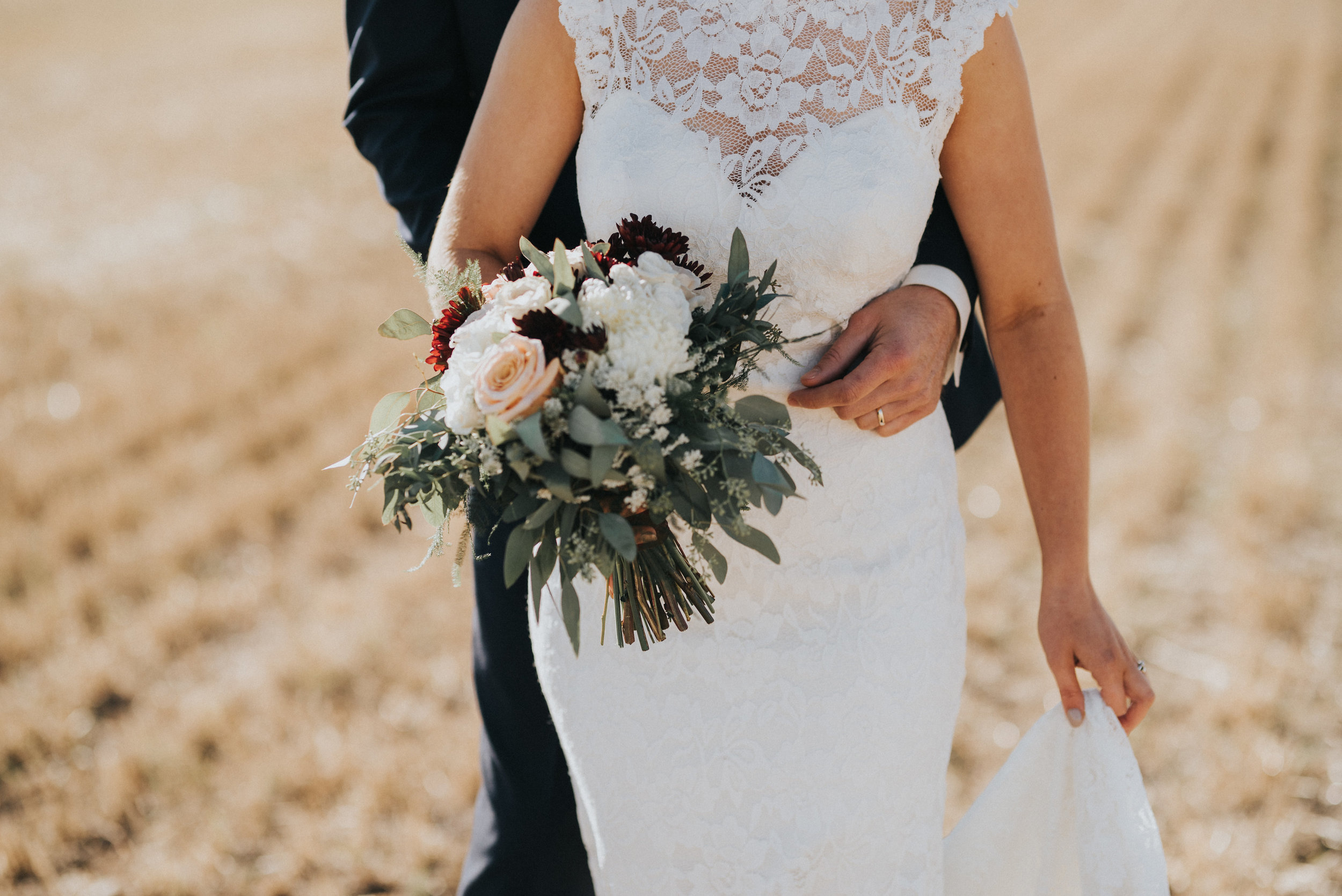 bridal bouquet with rustic wedding flowers in alberta