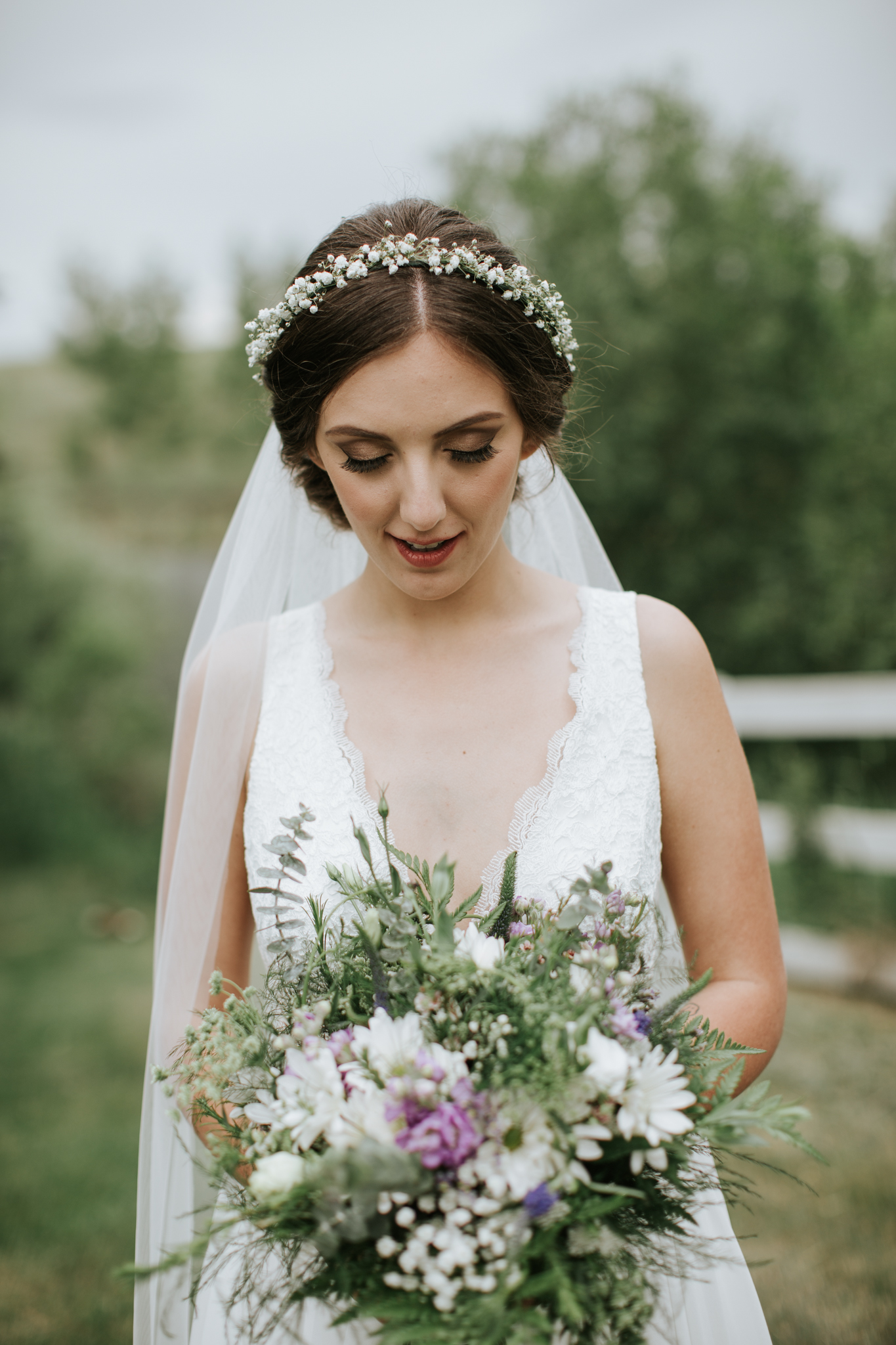 flower crown and bridal bouquet in calgary, alberta