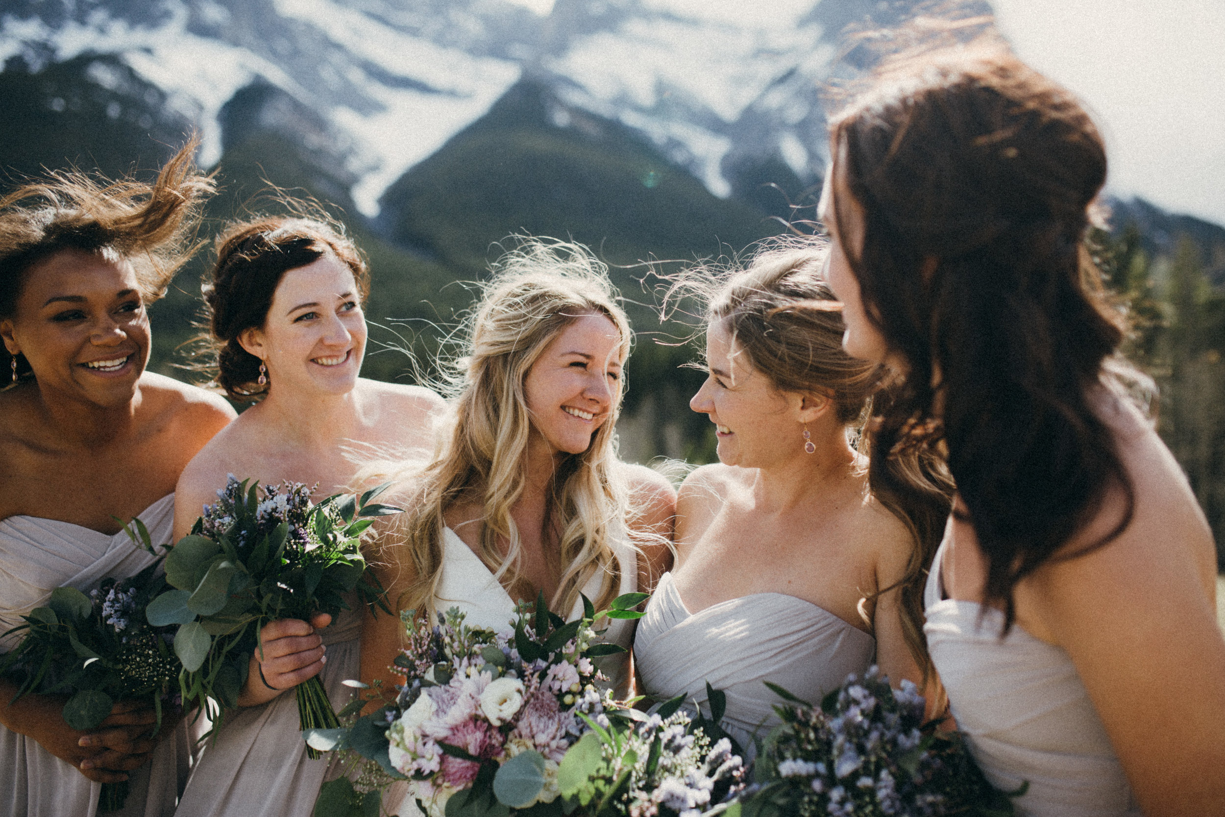 natural bridesmaid and bridal wedding bouquets in canmore, alberta