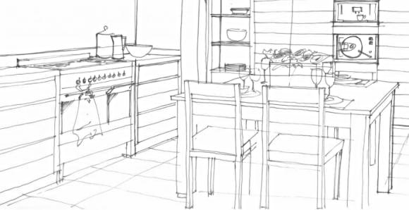 Traditionally, the stove, sink and refrigerator are placed at points of a triangle for efficient movement in the kitchen.