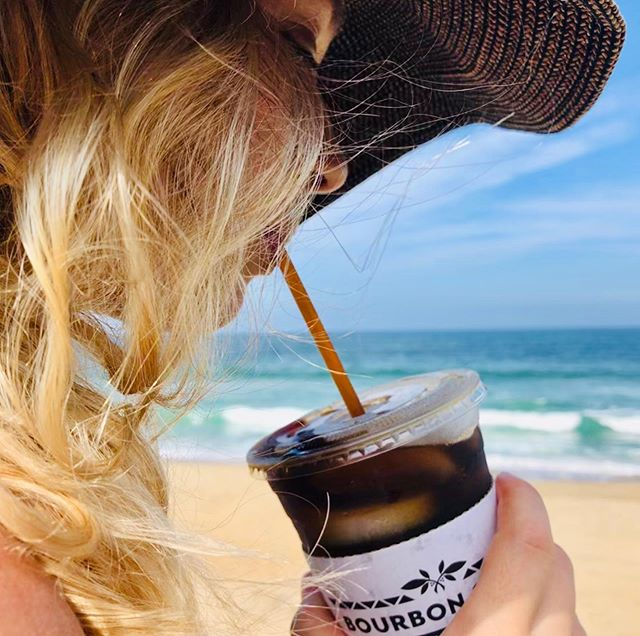 This is the kind of Bourbon WE drink at the beach 😉. Stop by, snag a retail bag, and you'll be good to go with Bourbon iced coffee wherever you go this Summer! #icedcoffee #bourbonatthebeach #keepingcool #atleasttrying