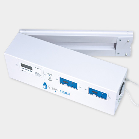 Wall mount hinged bracket for easy access to UV light and cartidges
