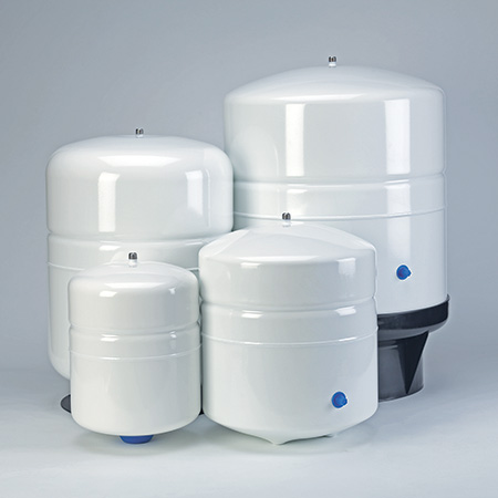 Bladder tank ensures water on demand, 2, 4, 10 and 14 gallon sizes