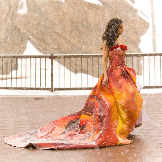 Hand painted dress by artist Nicole Finger. Photographer Jennifer Koskinen | Merritt Portrait Studio