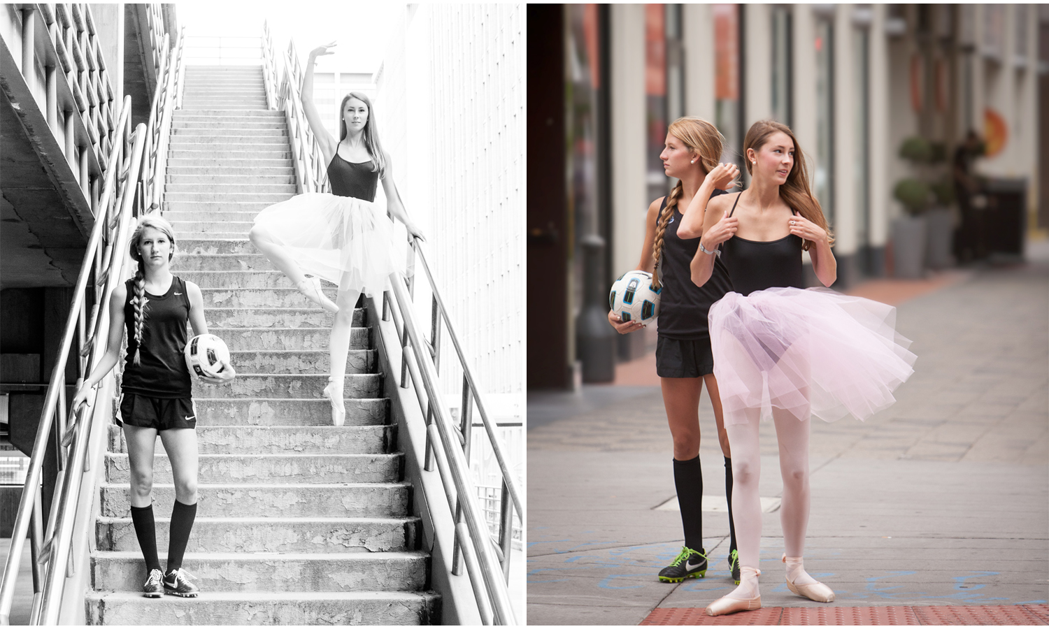 Downtown Denver best friends senior pictures session with a ballerina and soccer player with photographer Jennifer Koskinen, Merritt Portrait Studio.