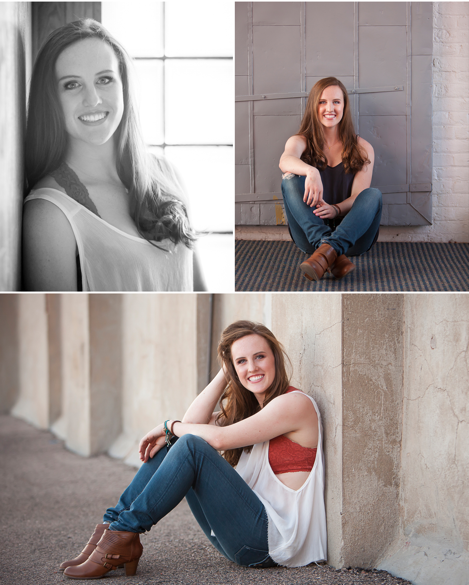 High School Senior Portraits in vintage factory building in Denver. Photographer Jennifer Koskinen, Merritt Design Photo