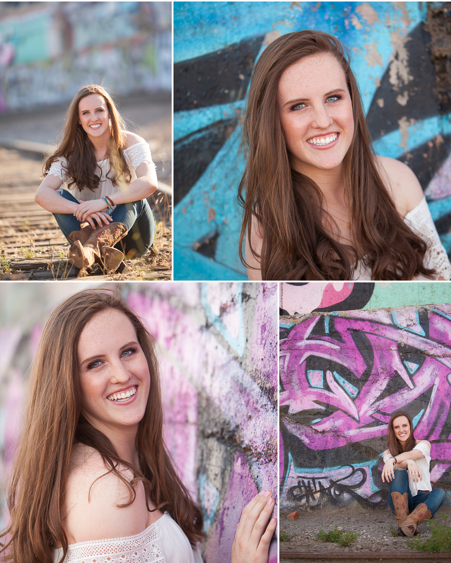 High School Senior Portraits of auburn haired girl laughing in front graffiti wall in Denver. Photographer Jennifer Koskinen, Merritt Design Photo