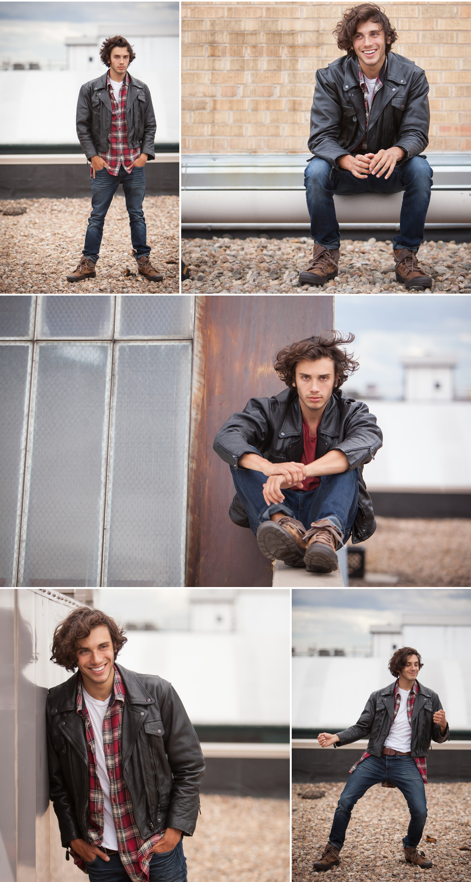 Male Talent Headshots and Portfolio Photos on urban rooftop, by Denver Photographer Jennifer Koskinen, Merritt Portrait Studio.