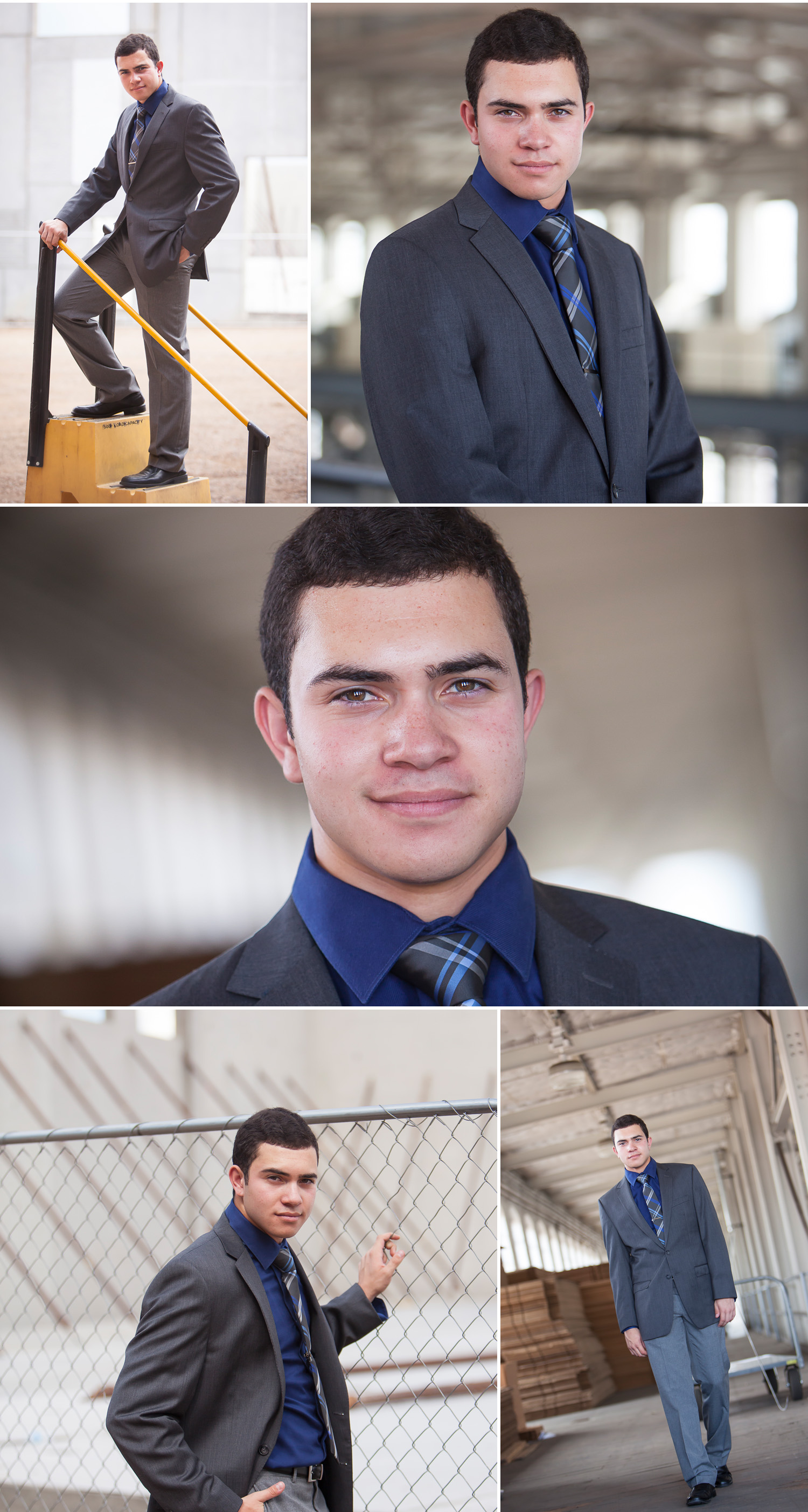 Senior pictures of guy in suit on industrial campus, with Denver photographer Jennifer Koskinen of Merritt Portrait Studio