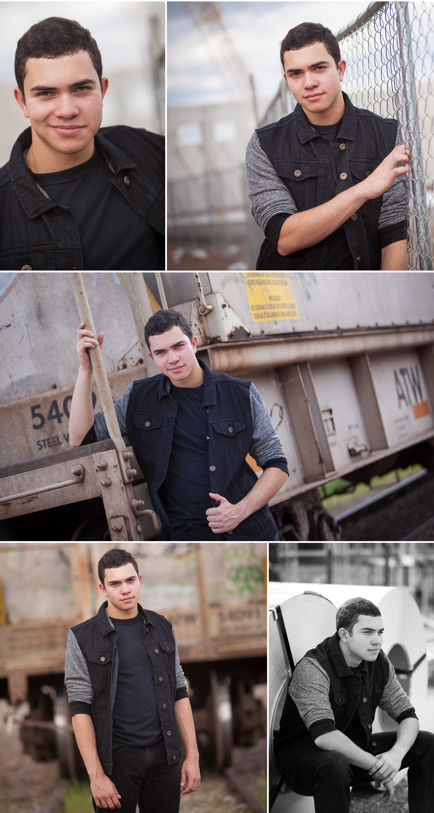 Senior Guy Portraits with construction site and vintage train, with Denver photographer Jennifer Koskinen of Merritt Portrait Studio