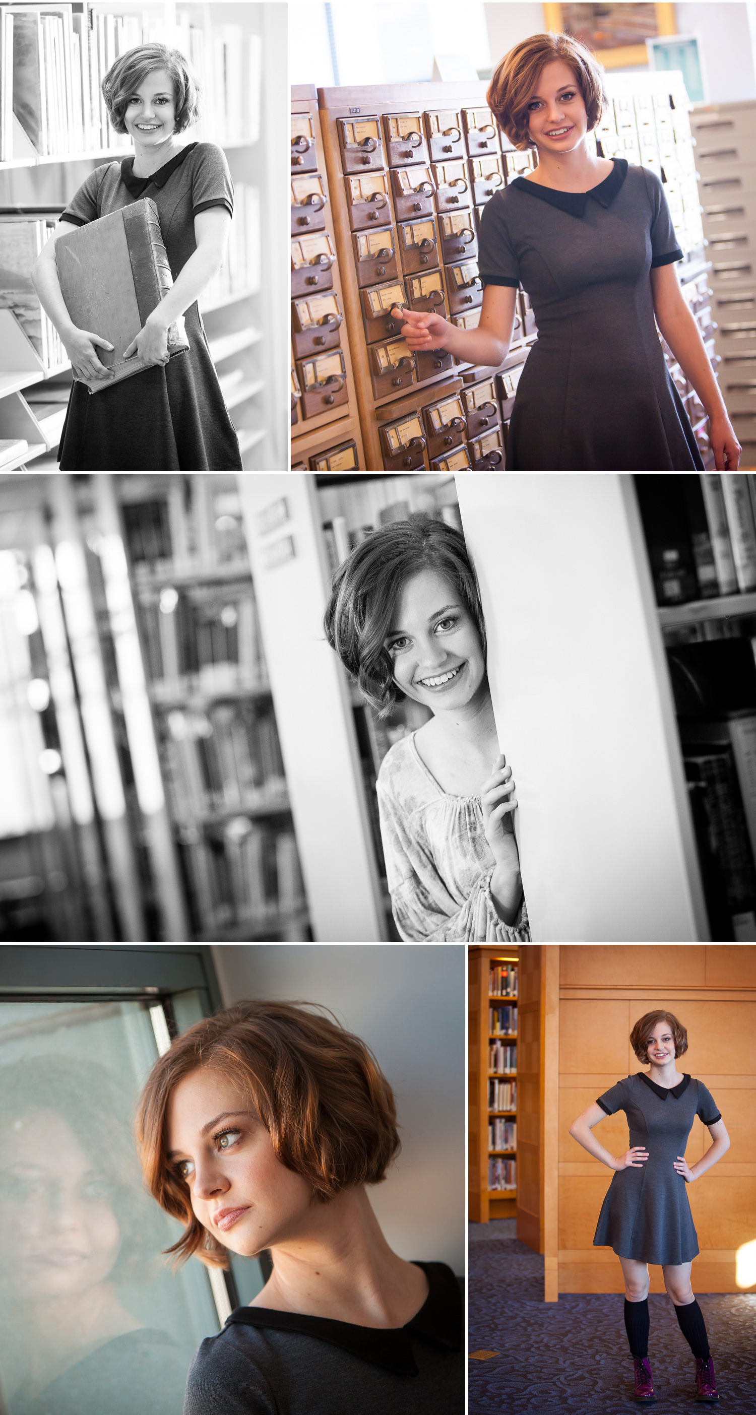 High School Senior Pictures inside Denver Public Library, with photographer Jennifer Koskinen of Merritt Portrait Studio