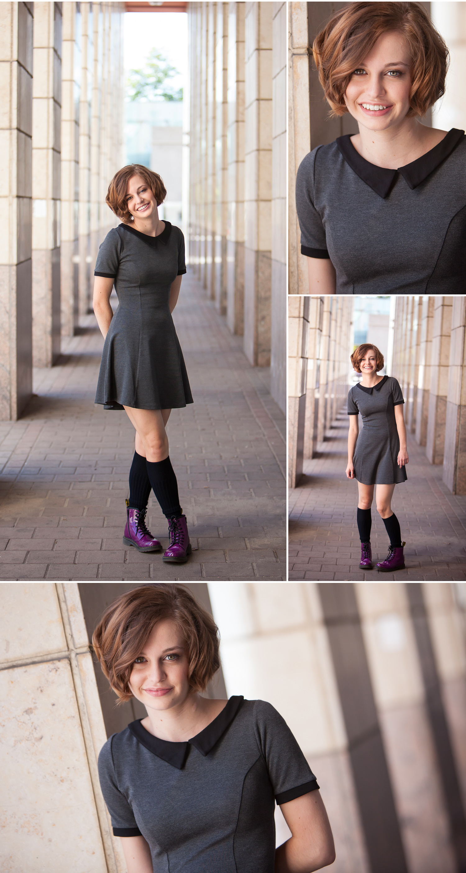 High School Senior Pictures with purple Doc Martins, photographed in columns outside Denver Public Library, with photographer Jennifer Koskinen of Merritt Portrait Studio