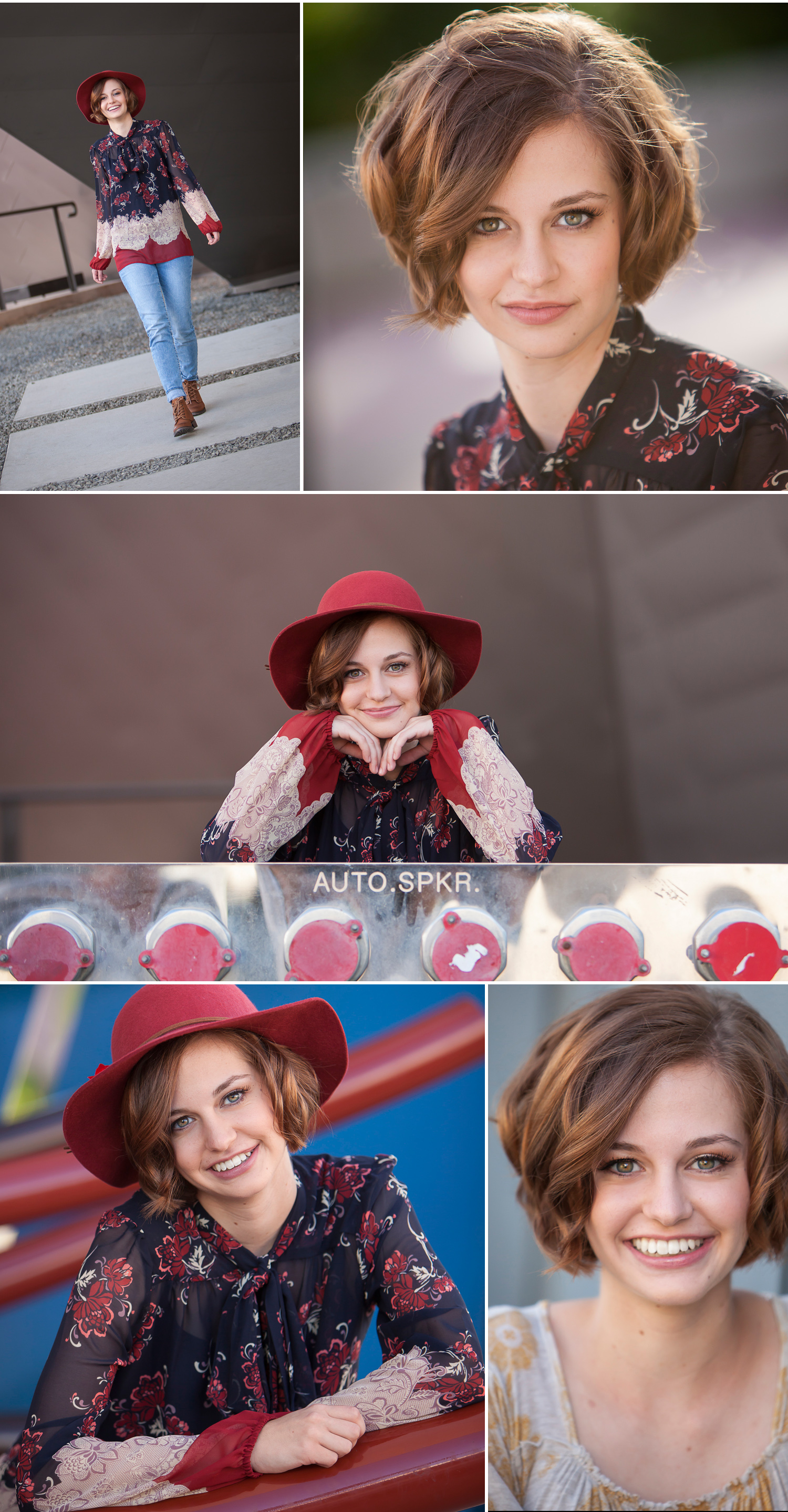 High School Senior Girl Pictures green eyes and red hat outside Denver Art Museum, with photographer Jennifer Koskinen of Merritt Portrait Studio