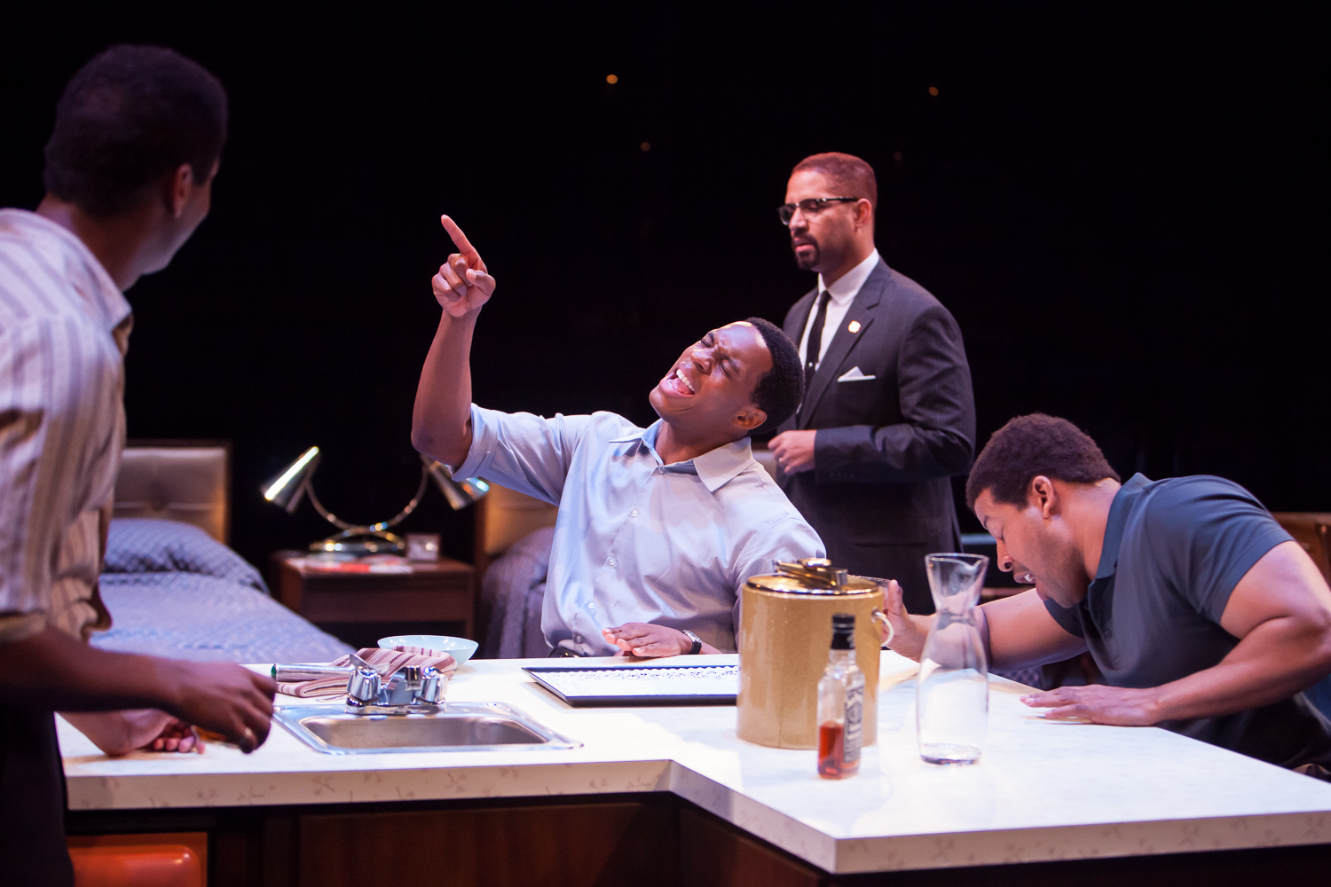 Nik Walker, Colby Lewis, Jason Delane and Morroco Omari in ONE NIGHT IN MIAMI at the Denver Center Theatre Company. Photo by Jennifer Koskinen | Merritt Design Photo