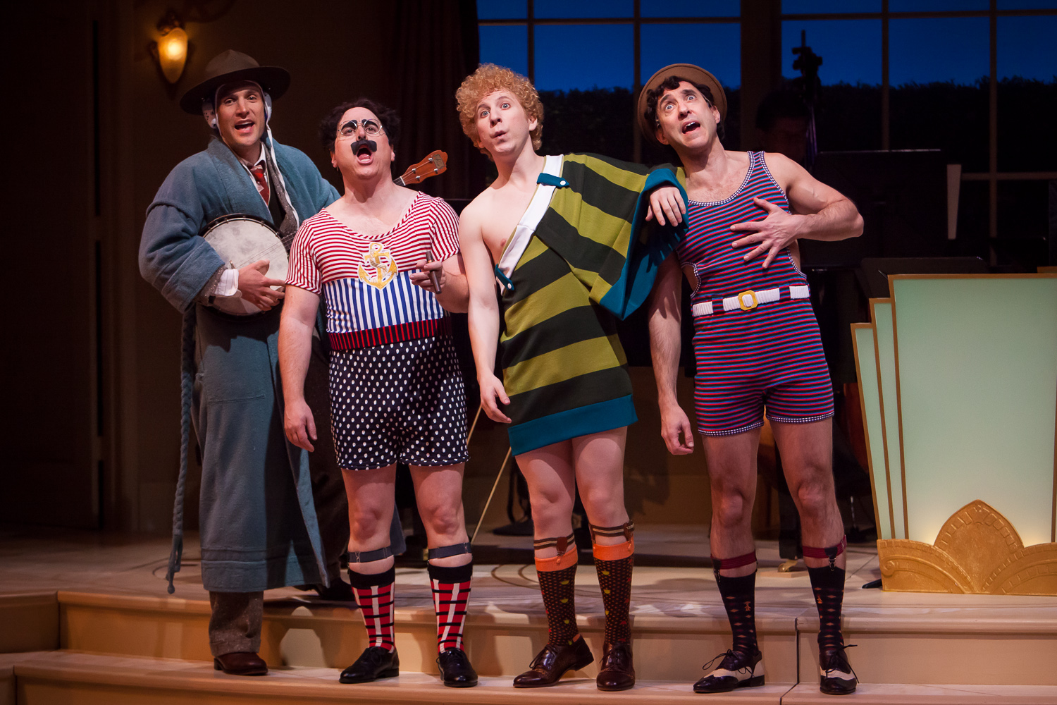 Scott McLean, Jim Ferris, Jonathan Randall Silver and Jonathan Brody in ANIMAL CRACKERS at the Denver Center Theatre Company, captured by photographer Jennifer Koskinen, Merritt Design Photo