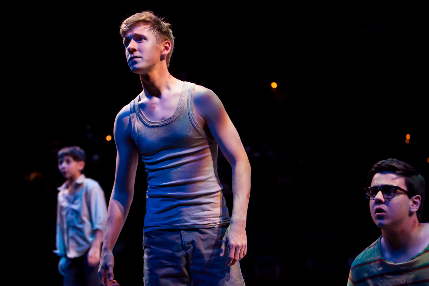 Charlie Korman, Charlie Fraklin and Matthew Gumley in LORD OF THE FLIES at the Denver Center Theatre Company, photo by Jennifer Koskinen, Merritt Design Photo
