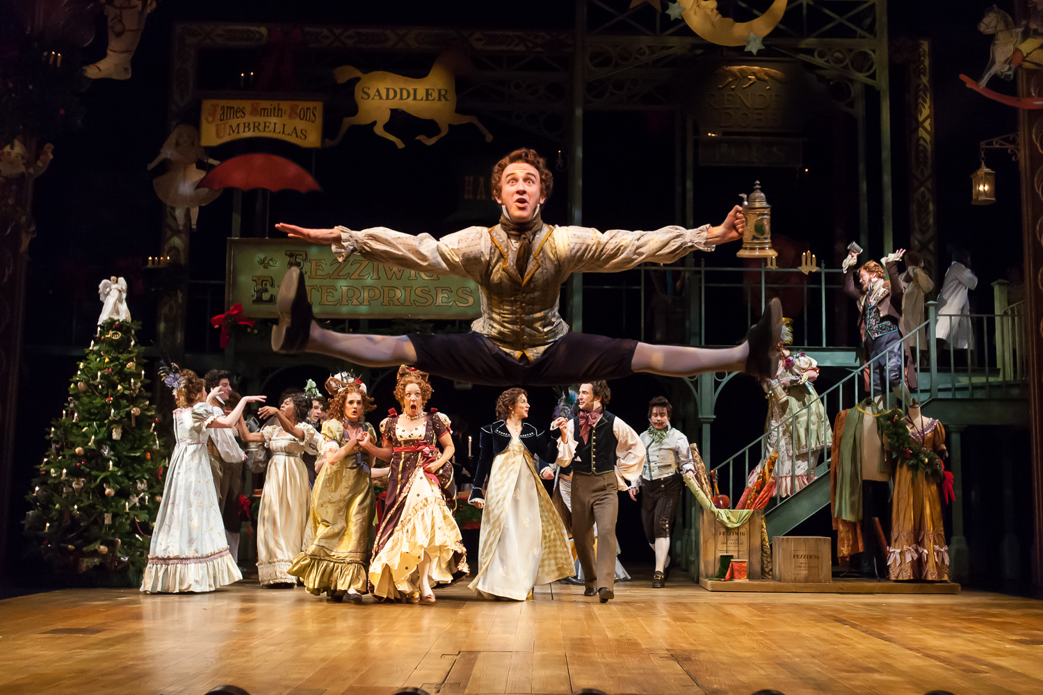 One of my all time favorite photos! All credit for this amazing capture goes to my assistant, who was 14 years old at the time, and a former cast member of this production at the Denver Center Theatre Company. Allen Dorsey, above, captured mid-leap in the Fezziwig scene of A CHRISTMAS CAROL. Photo by Gabe Koskinen, Merritt Design Photo