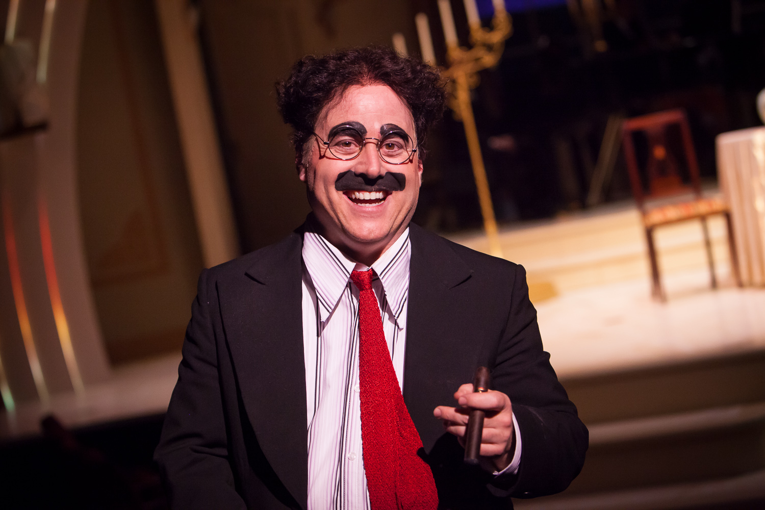 Jim Ferris walks up to my camera in an improv moment during ANIMAL CRACKERS at the Denver Center Theatre Company, photo by Jennifer Koskinen, Merritt Design Photo