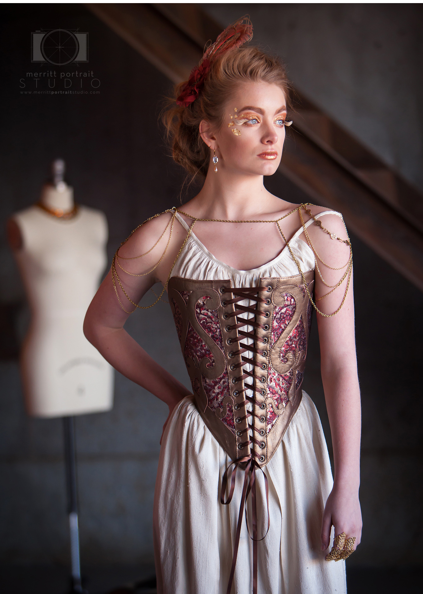 High Fashion Styled Corset Photo Session in Denver. Costume designer Cynthia Settje of Redthreaded. Photographer Jennifer Koskinen | Merritt Portrait Studio